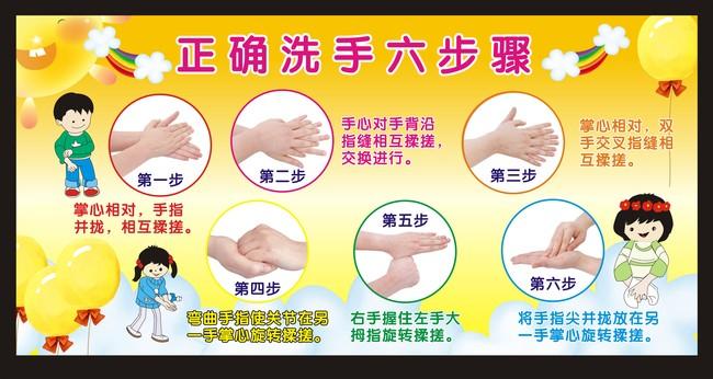 幼儿园六步洗手法步骤第一步单个图