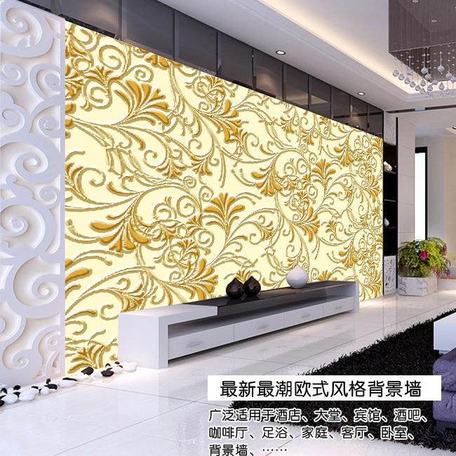 【psd】时尚金色浮雕银杏叶欧式电视背景墙