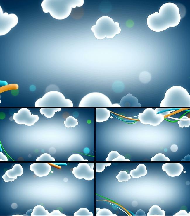 视频素材|片头片尾 动态视频素材 > 云朵少儿卡通动漫视频动画  关键