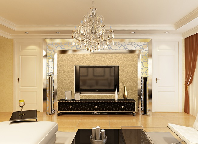 【ai】欧式土豪金色立体浮雕花纹客厅卧室背景墙