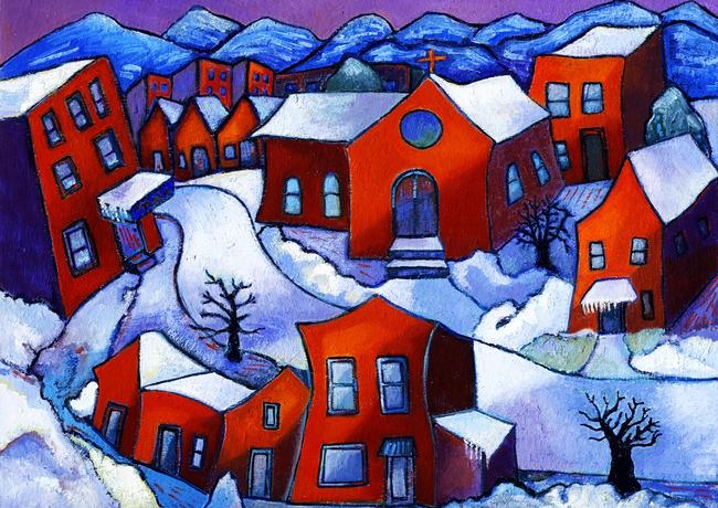 【jpg】高清抽象乡村雪景风景油画