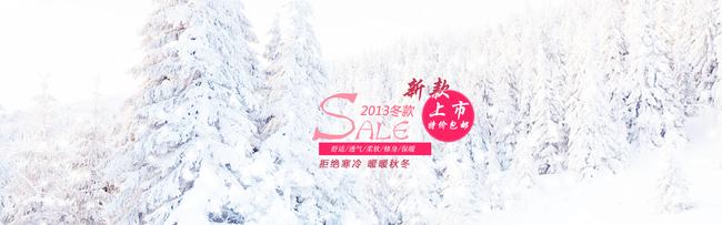 【psd】冬季雪景雪花淘宝首页女装背景素材轮播图片