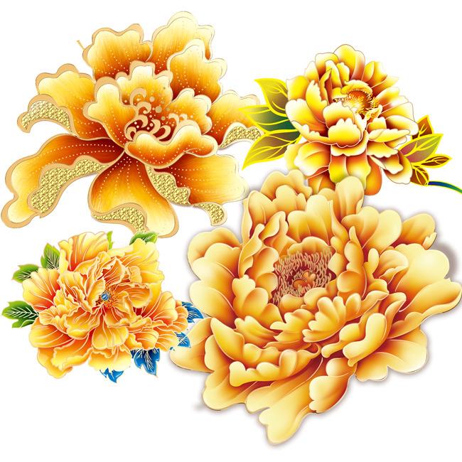 【psd】节日设计元素金色牡丹花psd分层图