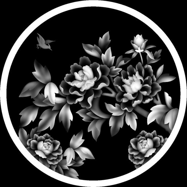 原创专区 室内装饰|无框画|移门 雕刻图案 > 浮雕灰度图富贵牡丹花