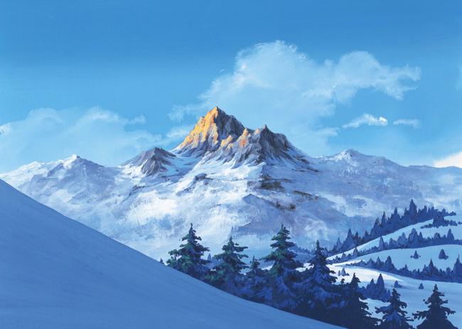 风景画 绘画 插图 手绘景观 手绘风景 风景插画 自然风景 说明:雪山
