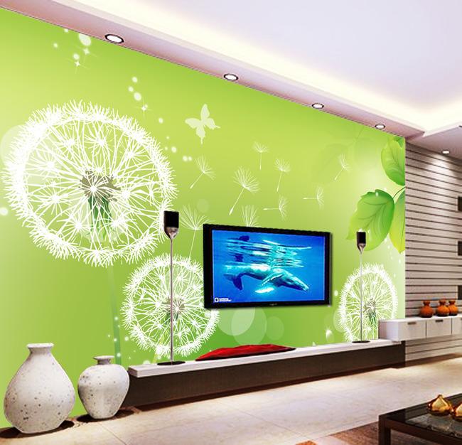 【psd】蒲公英绿色电视背景墙