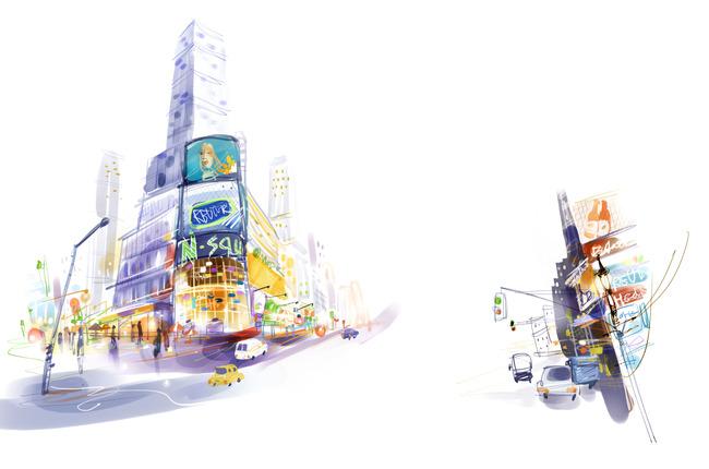 水彩装饰画 水粉装饰画 水彩画 无框画 室内装饰 水彩风景画 水彩城市