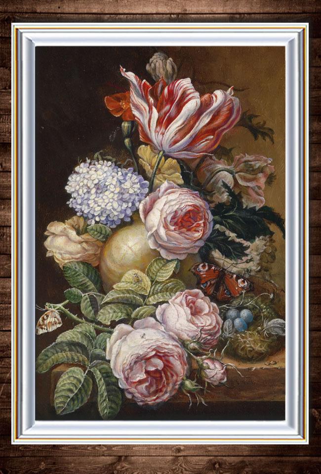 鲜花与水果写实静物油画