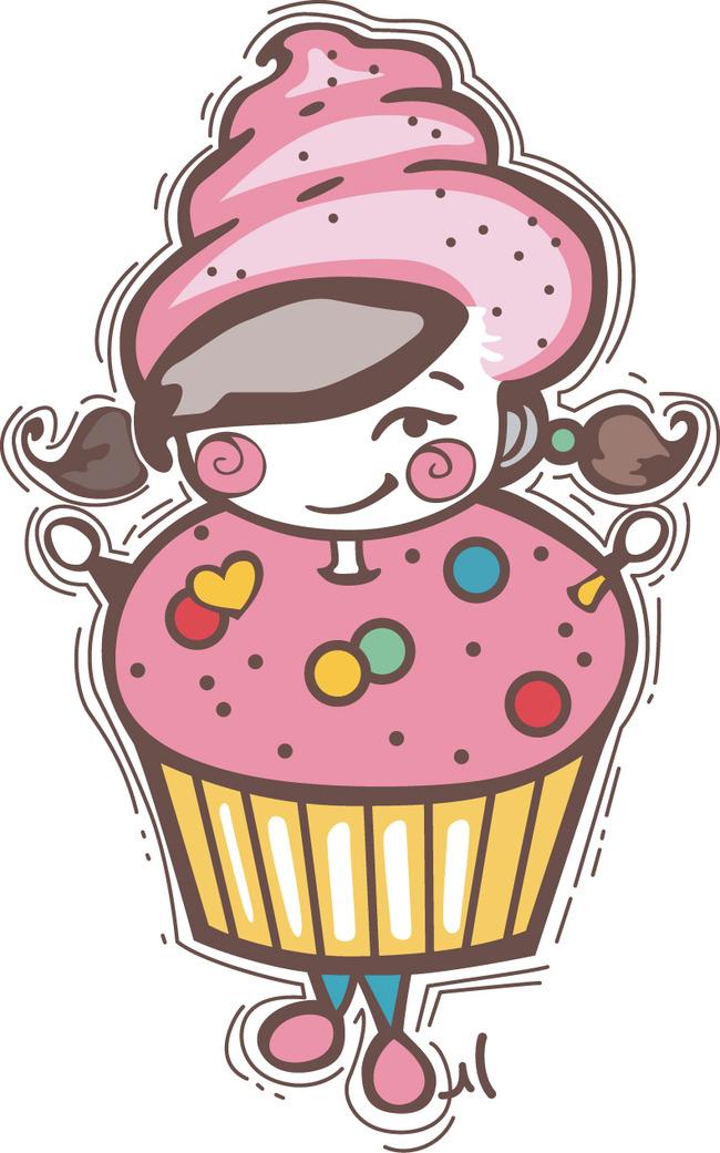 卡通冰淇淋雪糕奶昔矢量图
