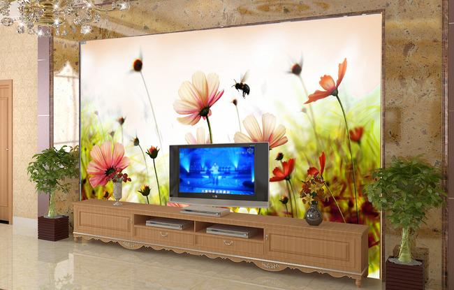【psd】客厅菊花风景电视背景墙图片
