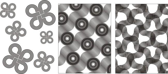 雕刻图案 > 矢量中国结交错编织艺术玻璃花纹  关键词: 矢量花格 镂空