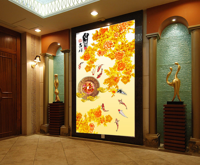 【psd】客厅金色牡丹玄关背景墙图片