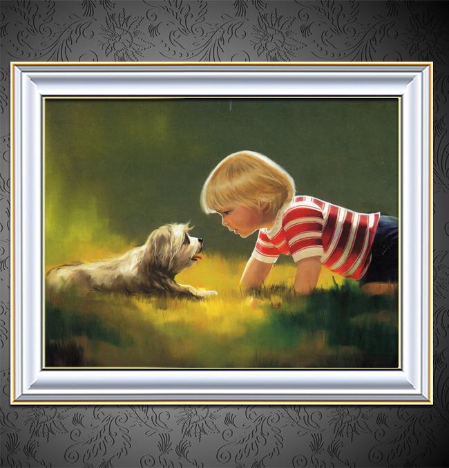【jpg】可爱的儿童写实风格油画