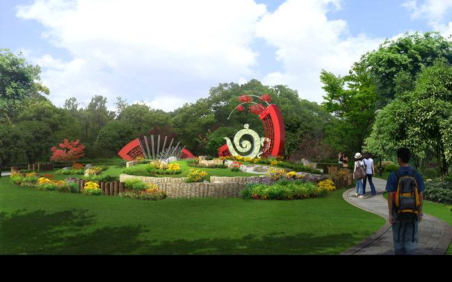 园林景观效果图 绿化 文化广场 说明:jf216公园文化雕塑景观效果psd