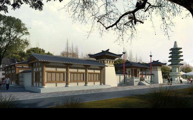 商业古建 塔 寺庙 旅游区 风景区 度假村建筑 说明:jf219大唐古建筑